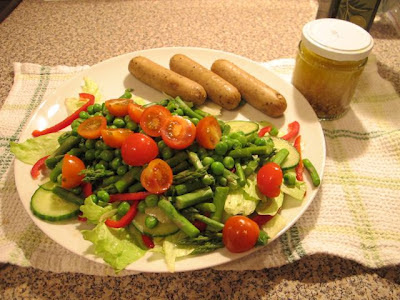 Pea and Asparagus Salad with Vegetarian Cumberland Sausages