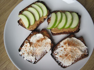 Peanut Butter on Low Carb Toast with Fresh Apple Slices