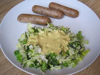 Curried Coleslaw and Vegetarian Lincoln Sausages
