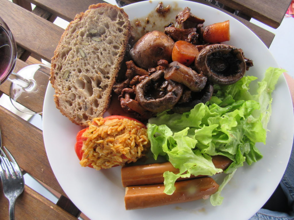 Mushroom Bourguignon with French bread and a French salad
