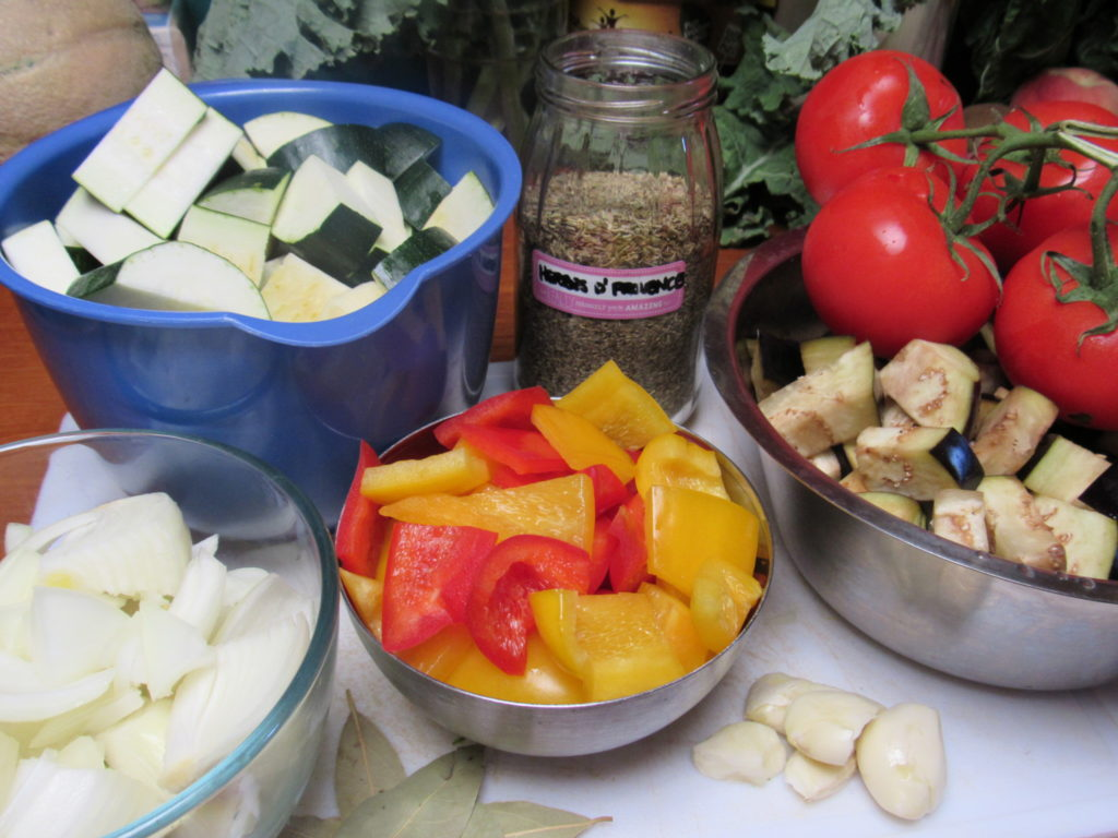 Traditional French Ratatouille ingredients